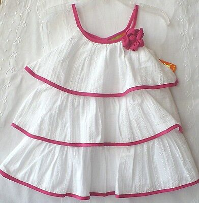 Penelope Mack Dress Girl Pretty WHITE Dress Silver Thread Stripe Pink Embroidery