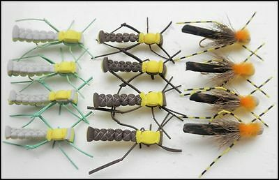 Grasshopper Fishing Flies, 12  Brown, Green & Banded, Size 10/12, Fly Fishing