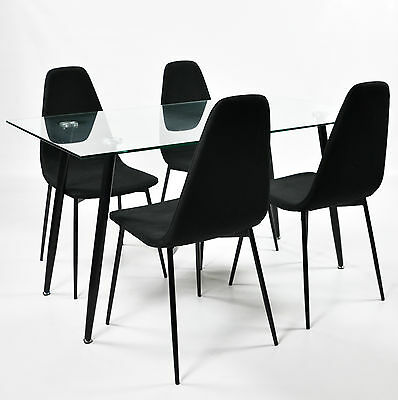 Charles Jacobs Clear Glass Lounge/Kitchen Dining Table + 4 Trendy Fabric Chairs