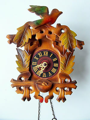 Vintage German Weight Driven Coloured Wooden Carved Cuckoo Clock Spares Repair
