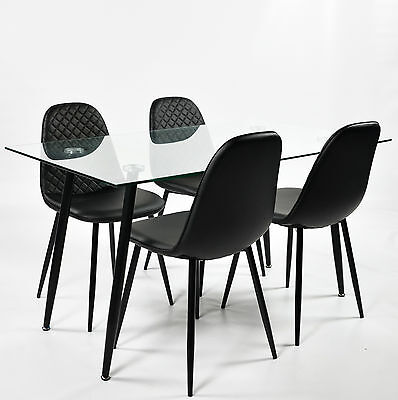 Charles Jacobs Clear Glass Lounge/Kitchen Dining Table + 4 Faux Leather Chairs