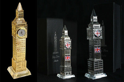 New Crystal Silver & Gold Metal Plated Big Ben Souvenir Clock 3D Laser Lights UK
