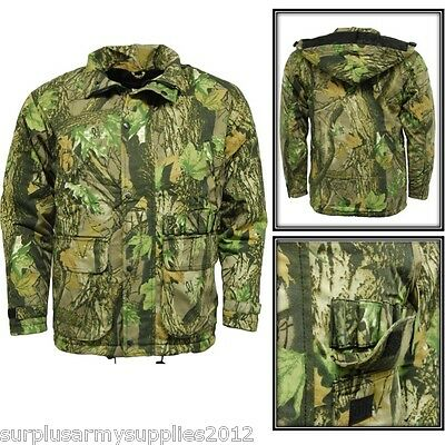 Delux Quilted Waterproof Hunting Jacket Country Camo Coat Stormkloth Shooting