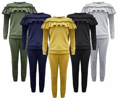 Ladies Women Kid 2Piece Frill Detail Top & Jogger Lounge Wear Suit Set LongSleve