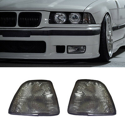 2 For 92-98 Bmw E36 3-Series 4Dr Sedan/hatchback Euro Smoke Corner Lights