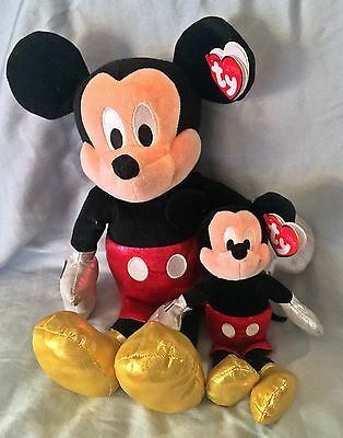 Mickey Mouse Sparkle Ty Beanie Baby & Buddy Set of 2- MWMT  - FREE SHIPPING