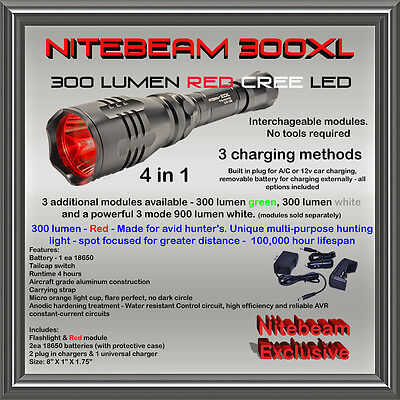 Nitebeam 300 XL Red Led Flashlight with white and green modules