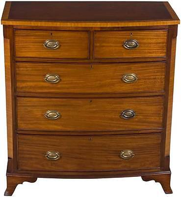 Antique Victorian Period Bow Front Chest of Drawers Dresser Bedroom English Wood