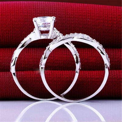 Dainty Fascinating 2Pcs Women Cubic Zirconia Silver Plated Rings