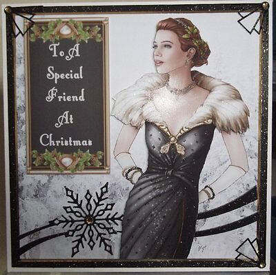 Handmade Art Deco Christmas Card To A Special Friend With Lady In Black