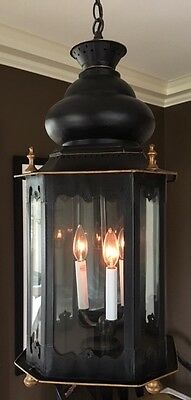 Lantern three-light chandelier HUGE,  black and gold metal, Moroccan style