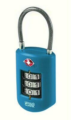 Lewis N. Clark Travel Sentry Large Dial Cable Lock, 3-Dial Combo, Blue #TSA46BLU
