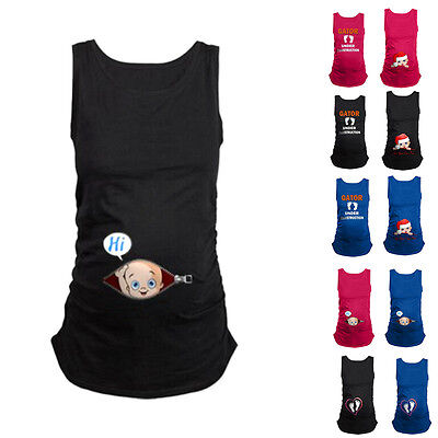 Baby Peeking Out Funny Cotton Printed Maternity Pregnancy Sleeveless Top T-shirt