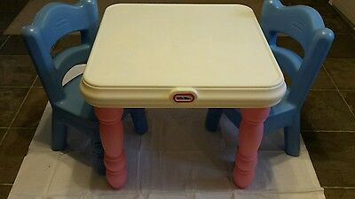 Little Tikes Tender Heart Victorian Pink /White Table & 2 Blue Chairs