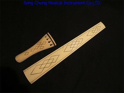 Baroque style nature maple 4/4 violin fingerboard /tailpieces,carved design
