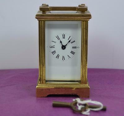 "Vintage french ? miniature carriage clock 3.1/4"" h 1008 to base running as found"