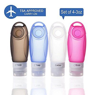 Silicone Travel Bottles Toiletry Containers Set TSA Leak Proof Design Refillable