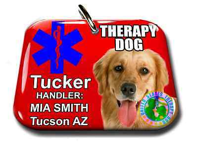 Service Dog ID Tag and Badge THERAPY DOG custom photo ID medical red