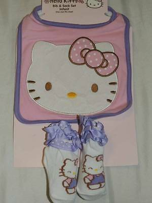 Hello Kitty Baby Bib And Socks New!