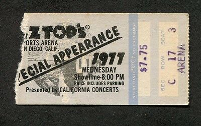 1977 ZZ Top Elvin Bishop Concert Ticket Stub San Diego CA Worldwide Texas Tour