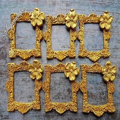 6 edible sugar frames for cake cupcake toppers decorations GOLD with shimmer