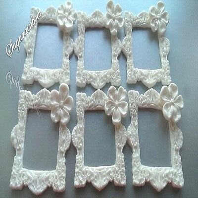6 Edible Sugar Frames Cake Cupcake Toppers Decorations White