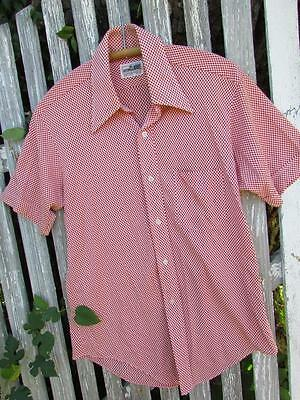Vintage Jason Clarke silky red white check shirt casual dress 60s 70s 15 1/2 EUC
