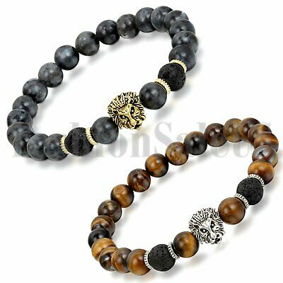 2pcs Men Women Lava Tiger Eye Stone Lion Buddha Beaded Elastic Bracelet Bangle