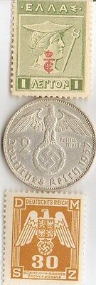 """**antique  WWII 1937 - *german  SILVER  EAGLE coin + WWI  *greek """"Mercury"""" Stamp"""