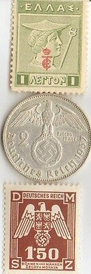 "**antique  WWII 1937 - *german  SILVER  EAGLE coin + WWI  *greek ""Mercury"" Stamp"