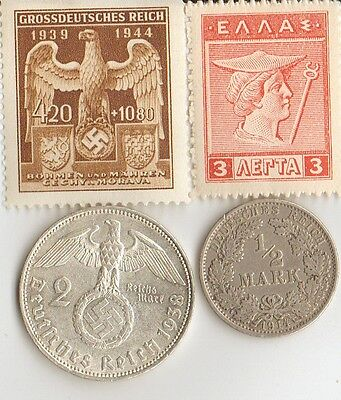 """*antique  WWI  *greek """"Mercury"""" Stamp  + wwi and WWII *german  SILVER coins"""