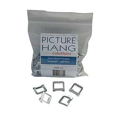Picture Hang Solutions Foam Board Hangers Metal Sawtooth - 100 Pack