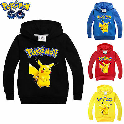 Pokemon Pikachu Kids Hoodies Sweatshirts Boys Girls Cartoon Cosplay Clothes Tops