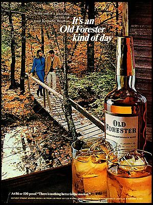 1967 Old Forester Bourbon Woods Bridge Fall Scene Vintage Print Ad