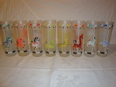 Libbey Glass Frosted Circus Carousal Animals Glasses Cups Mugs Highball Tumblers