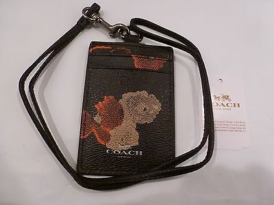 NWT COACH Lanyard ID Holder Case In Halftone Floral Print F 56003