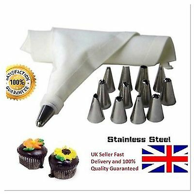 14 Nozzle Icing Piping Cake Cupcake Decorating Set And Cotton Bag Sugarcraft Cup