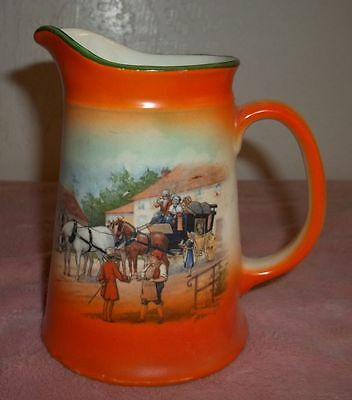 Vintage Looking Water Pitcher With Horse Drawn Carriage On It. Marked. Unique!