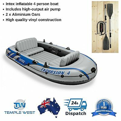 Inflatable Boat Intex Excursion 4 Person Tender Dinghy Raft 2 Oars Air Pump