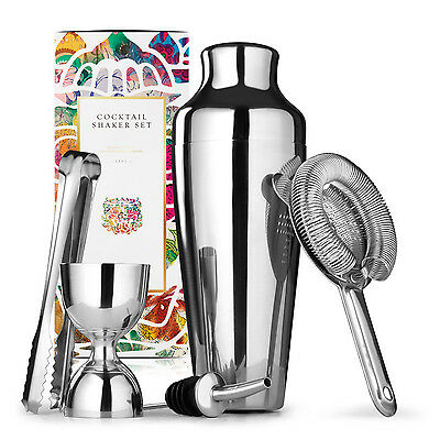 Homestia 5 Pc Shaker Bar Accessories French Drink Mixer & Cocktail Set Barware