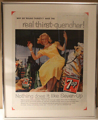 7-Up 1959 Saturday Evening Post Framed and Matted Advertisement Advertising