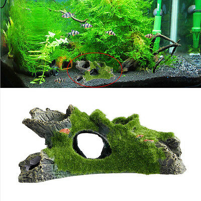 Aquarium Resin Mountain View Moss Tree House Cave Fish Tank Ornament Decoration