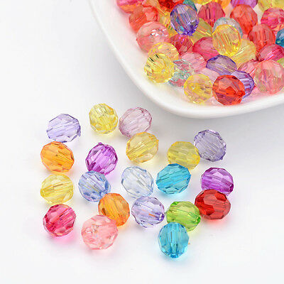 100PCS Mixed Dyed Acrylic Beads Faceted Round Jewelry Making 10mm in diameter
