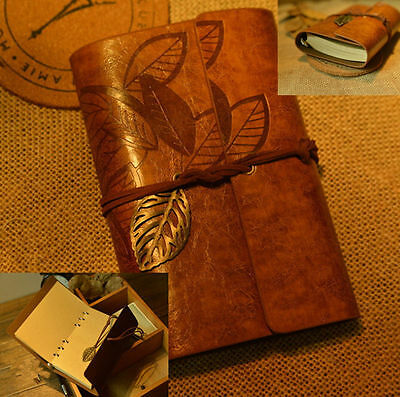 Vintage PU Leather Key Leaf String Bound Blank Diary Notebook Journal Travel