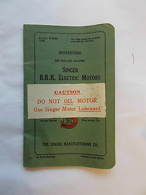 Vintage   Instructions For Singer B.R.K.Electric Motors Sewing Machines