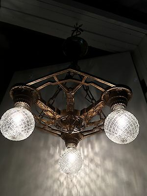 VTG 1920's Art Deco Chandelier Antique Polychrome Ceiling Light Fixture Bronze