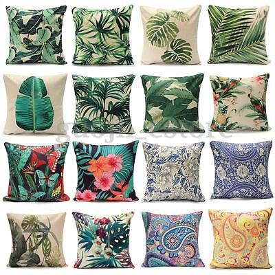 Floral Tropical Plant Leaf Cushion Covers Throw Pillow Case Home Sofa Decor New