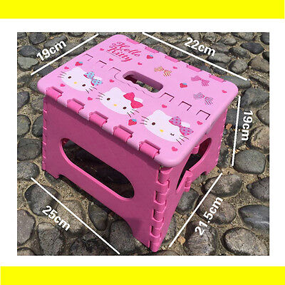 Pink Kids Children Step Sturdy Flat Stool Foldable Portable Easy Carry Out