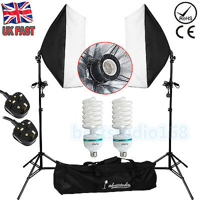 New 2 x 135w Photo Studio Continuous Lighting Softbox Soft Box Light Stand Kit