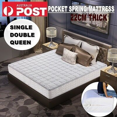 Spring Mattress QUEEN DOUBLE SINGLE 22CM Light & breathable Deluxe Foam AU STOCK